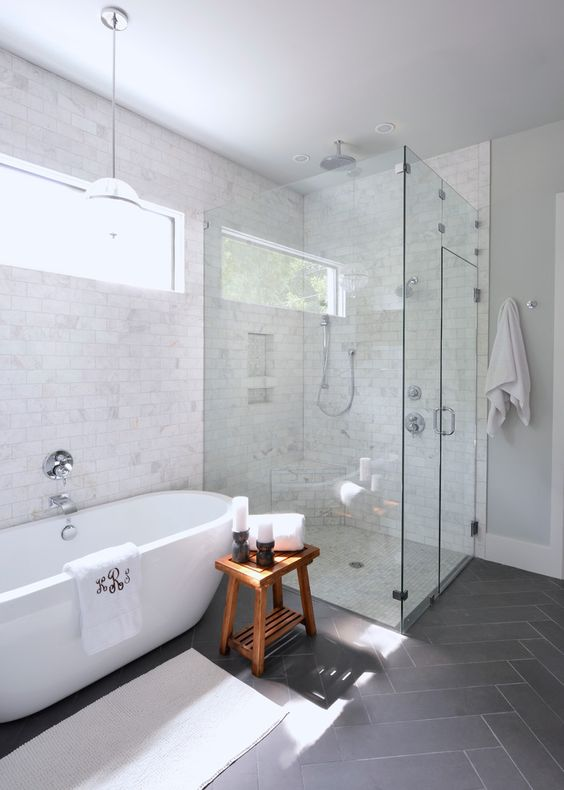 a freestanding bathtub makes this bathroom chic and modern