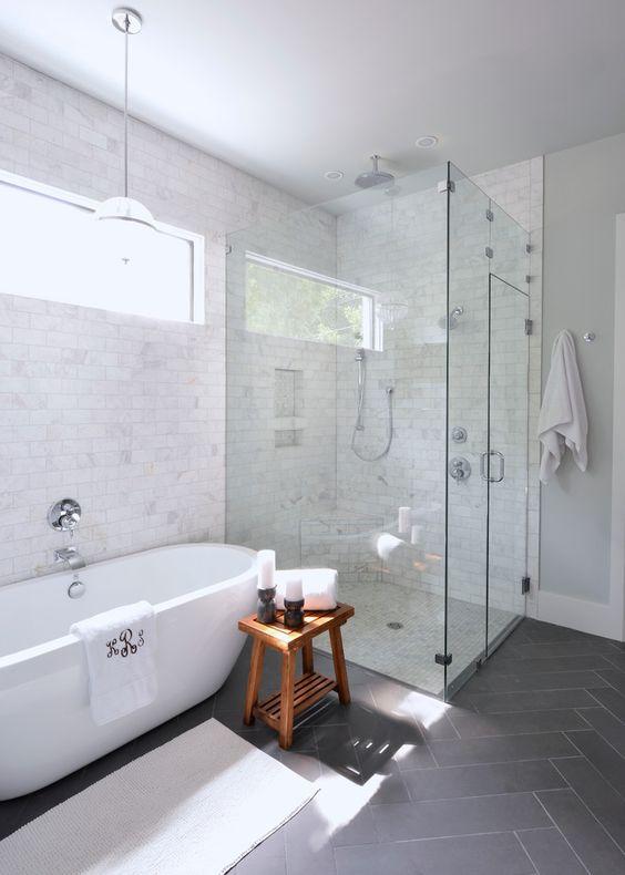 a freestanding bathtub makes this bathroom chic and modern