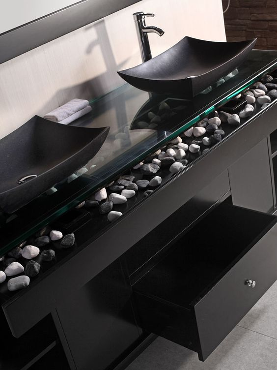 30 masculine bathroom appliances and furniture ideas - Bathroom vanity black marble top ...