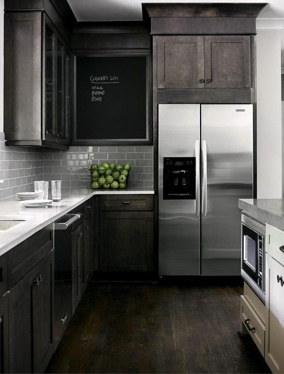 Masculine Kitchen Furniture Ideas That Catch An Eye DigsDigs - Light grey kitchen cabinets with black island