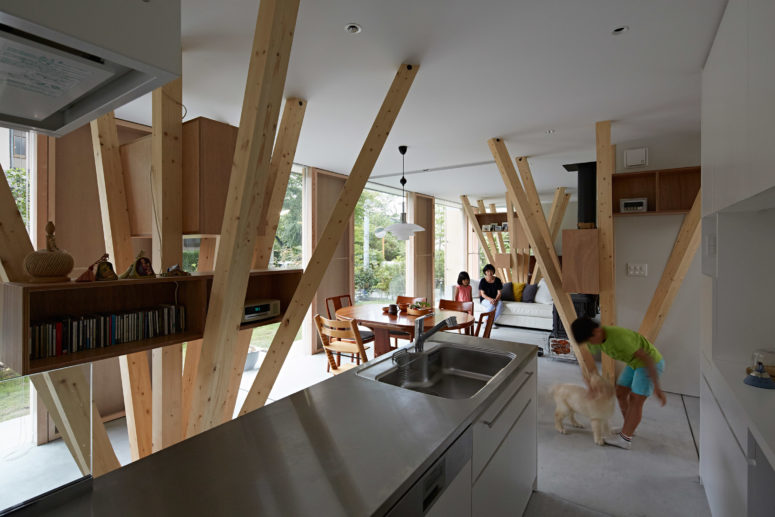 Modern Columns modern home with clusters of wooden columns - digsdigs