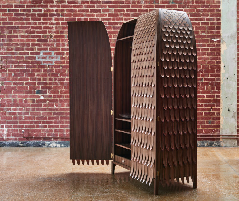 Monster wardrobe covered with veneer and copper in a scallopped pattern