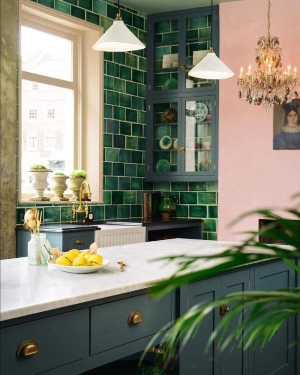 English Country Kitchen Design: English Country Kitchen With Handmade Green Tiles