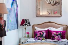 04 a bold girlish bedroom with a vintage crystal chandlier