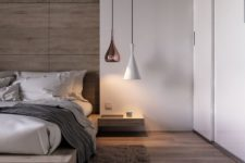 04 a combo of a copper and a white lamp of different shapes looks chic