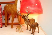 04 a cute mushroom table lamp and a deer composition for a woodland room