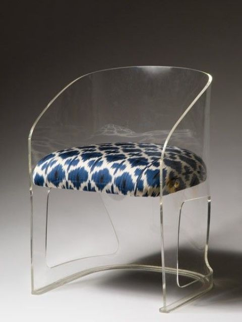 adorable acrylic chair with a patterned upholstered seat