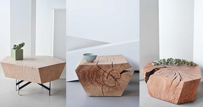 Geometrically shaped side tables with natural cracks left as they are