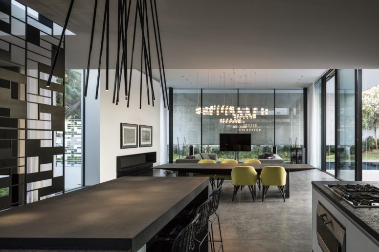 The nets are incorporated into inner decor, and the designers made a statement with lighting