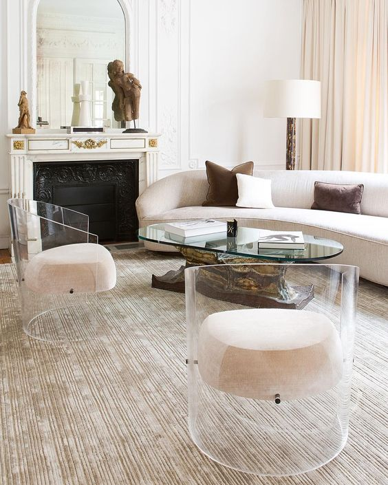 acrylic armchairs with upholstered seats