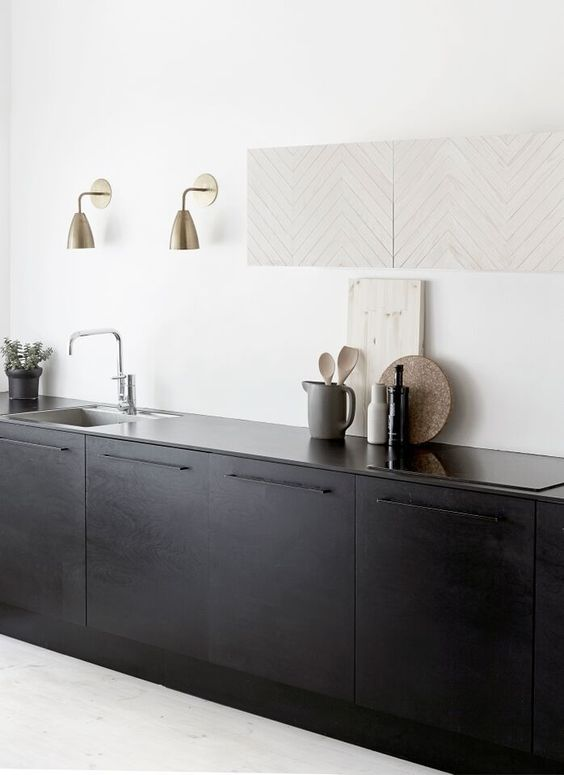 black kitchen cabinets contrast with white walls