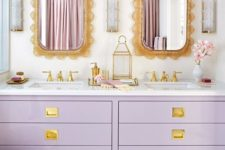 05 lavender double vanity with gold details for a glam bathroom