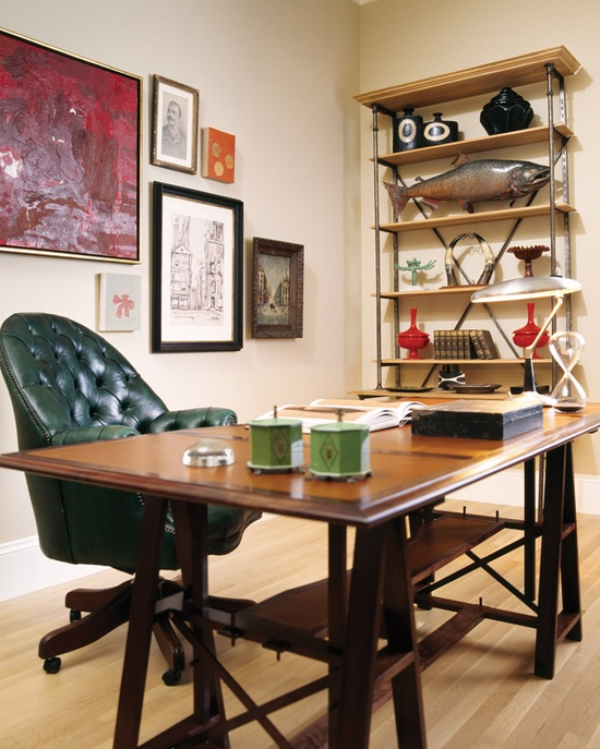 rustic wooden desk with X legs to make the home office comfier