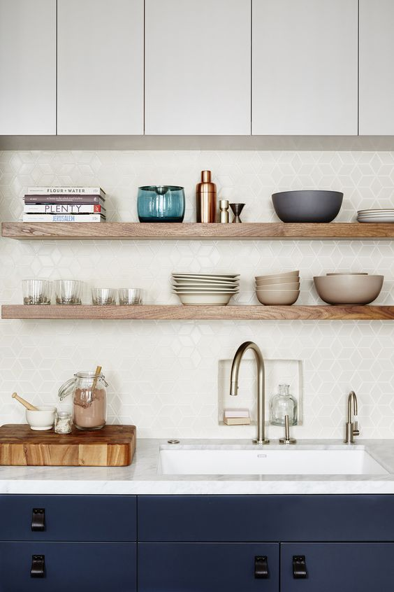 wooden shelves look perfect in a minimalist kitchen