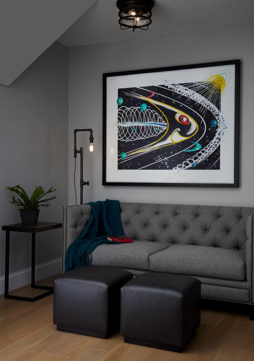 industrial pipes in a living room