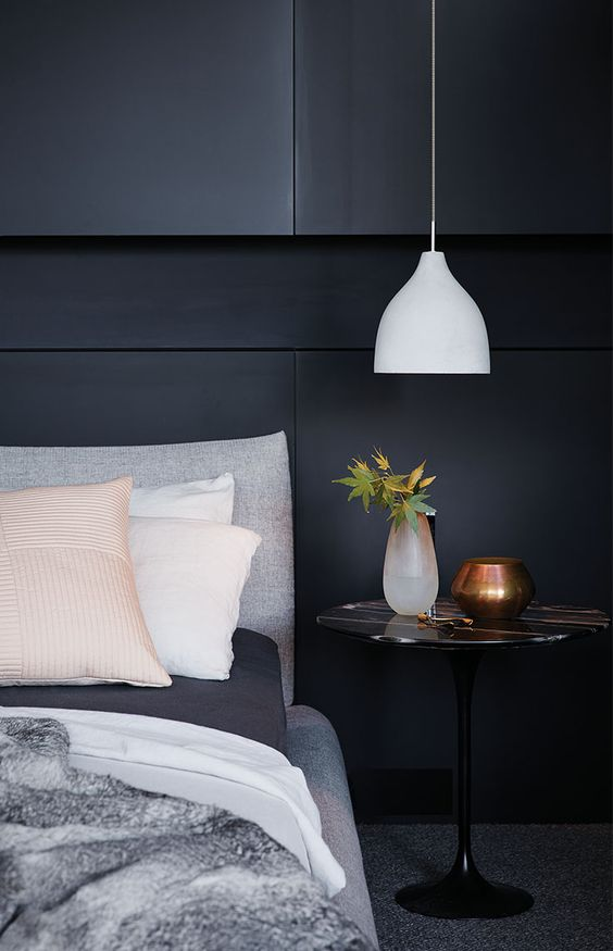 a white concrete pendant lamp is ideal for a modern or minimalist bedroom