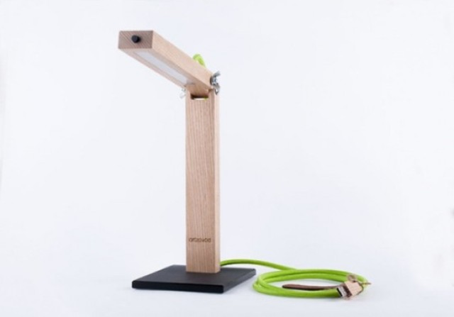 minimalist home office table lamp made of light-colored wood and LEDs