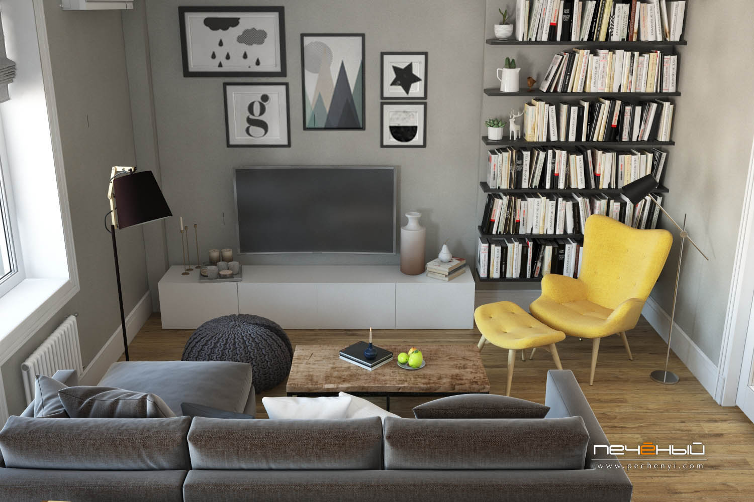 Floating shelves look airy enough but accomodate a lot, and a small TV unit is a good idea for additional storage