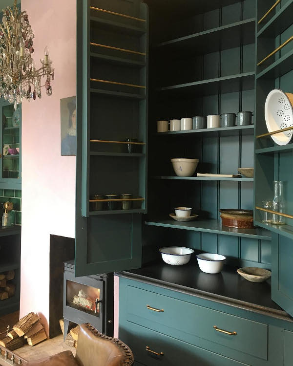 The cabinets are functional and have a lot of storage space