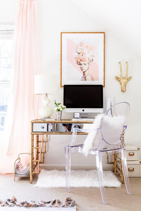 a bamboo desk with mirrored decor looks unique