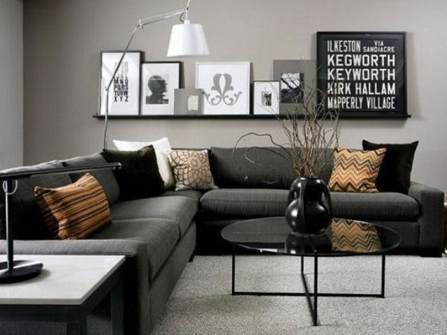 a large dark grey corner sofa will easily accomodate all your friends