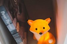 07 cute fox table LED lamp for a rustic or forest kids room