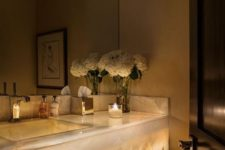 07 refined and luxurious lit up marble bathroom vanity
