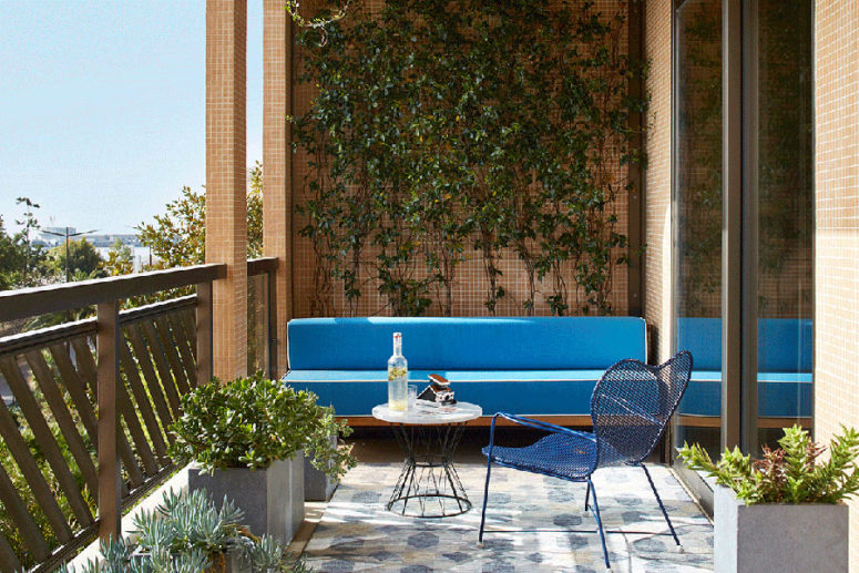 A small terrace or a big balcony is covered with greenery and there are potted succulents