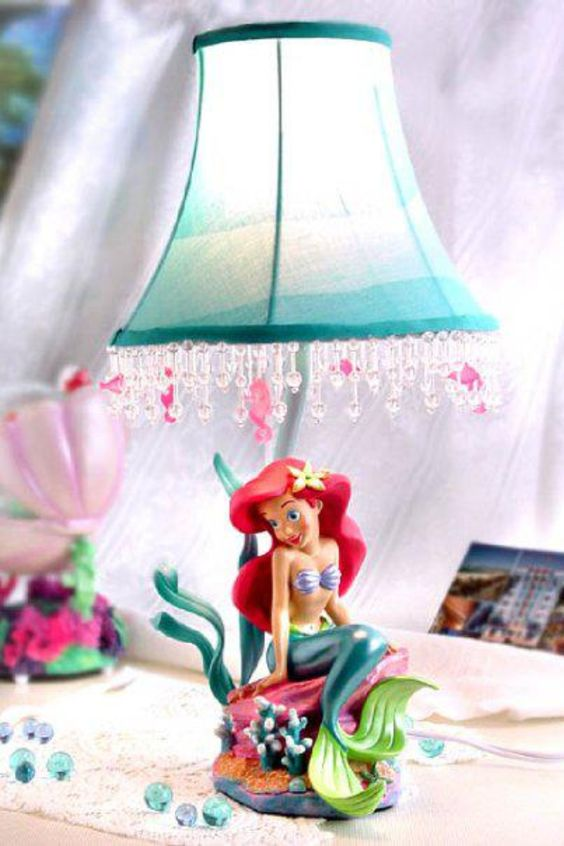 bold Ariel the mermaid table lamp with crystals is ideal for a girl's sea inspired room