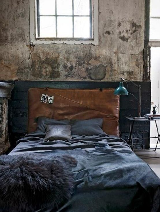 industrial leather-upholstered bed