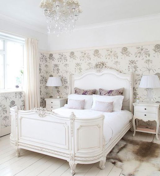 refined Provence inspired white bed for an exquisite bedroom