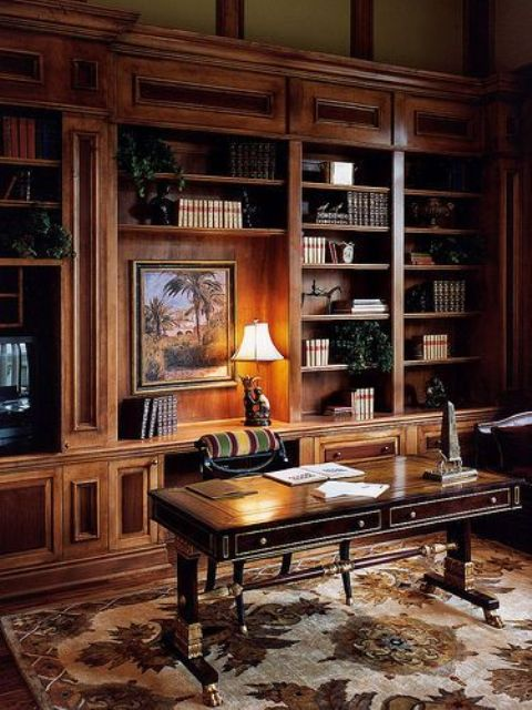 Home Library Decorating Ideas: 33 Chic Masculine Home Office Furniture Ideas