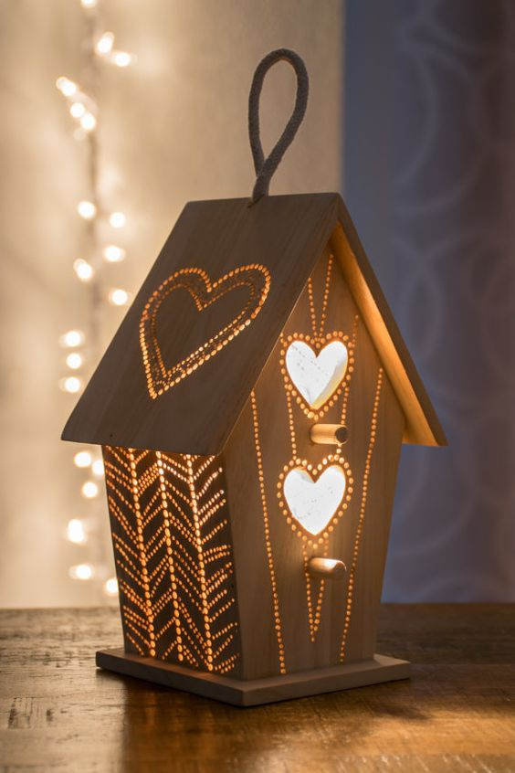 a wooden bird house night light is great for nurseries and kids rooms
