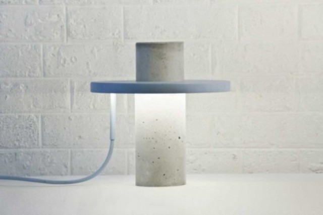 concrete lamp with a plastic part fits any modern or Scandinavian office