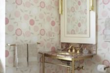 09 gilded sink stand and floral wallpaper look so grilish together