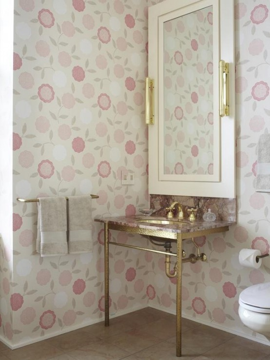 gilded sink stand and floral wallpaper look so grilish together