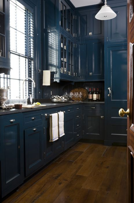 Traditional Teal Kitchen Cabinets Look Masculine
