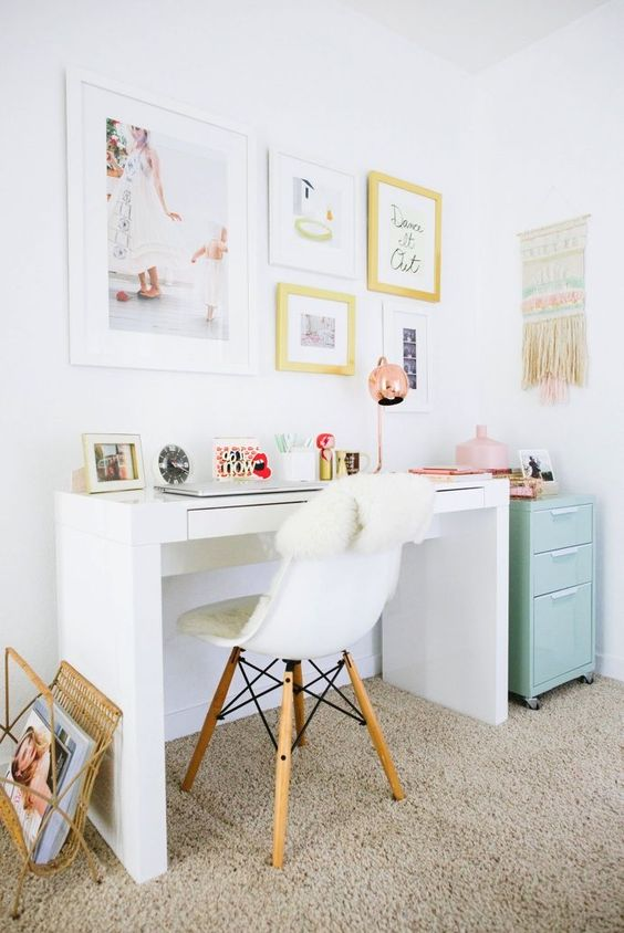 white desks are very popular for girlish spaces, they can easily match a lot of styles