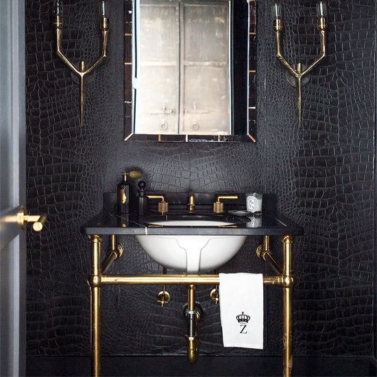 black and brass bathroom vanity for an art deco bathroom. 30 Masculine Bathroom Appliances And Furniture Ideas   DigsDigs