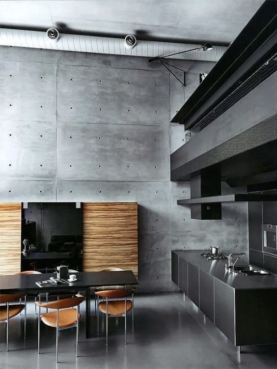 charcoal gray cabinets in a vertical grain wood ground