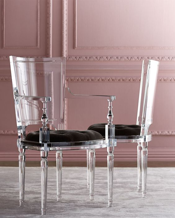 refined acrylic chairs with upholstered seats for an exquisite space
