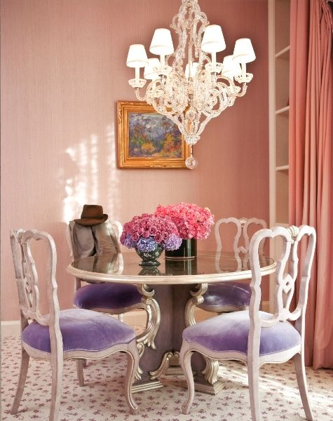 refined lavender upholstery dining chairs make this space really feminine