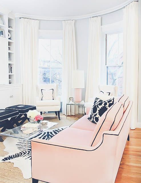 blush sofa with black details for a glam look