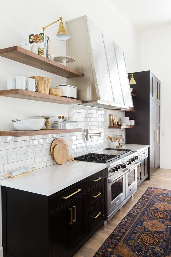 Floating Wooden Shelves In A Chic Art Deco Kitchen