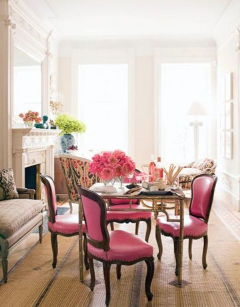 pink chairs are right what you need for a girlish space, they scream feminine