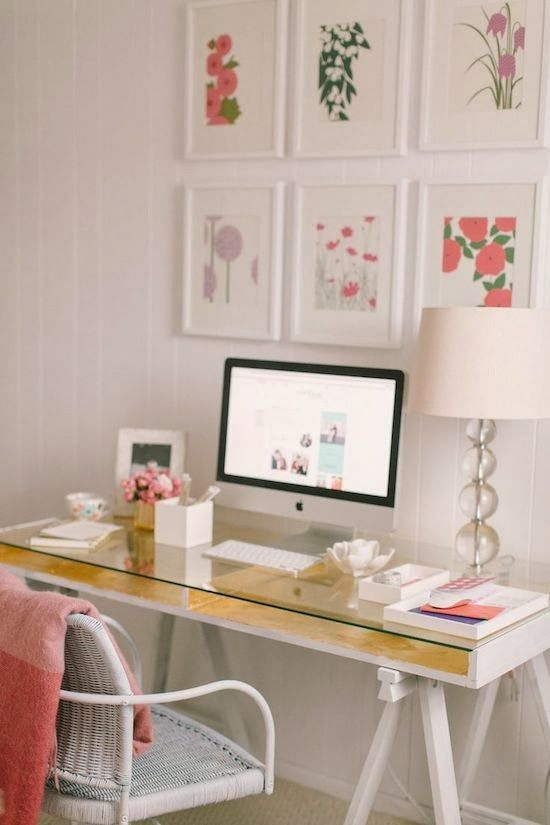 a white desk with gold lining and a glass top. 30 Delightful Feminine Home Office Furniture Ideas   DigsDigs