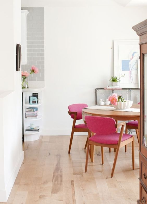 mid-century upholstered pink chairs are ideal for girlish spaces