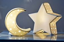 12 moon and star night lights are ideal for any kinds of kids' spaces