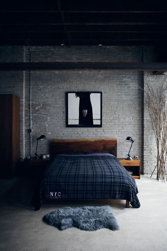 rustic wood bed for an industrial bedroom