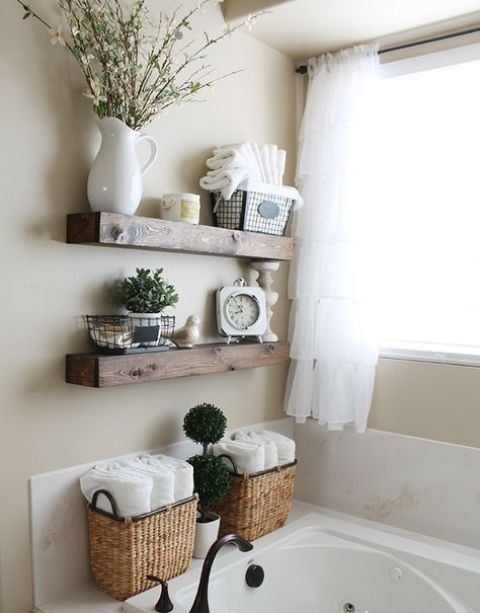 thick rustic floating shelves for storing bathroom stuff and decor